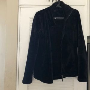Worn once black fleece furry jacket